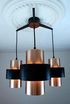 Vintage 1970s Suspension Ceiling Lamp Danish Modern Fog Morup Lyfa Poulsen Era