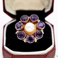 Antique Vintage C 1920 Deco 14k Gold 2 94 Ct Amethyst Akoya Pearl Ring Sz 5 5   eBay