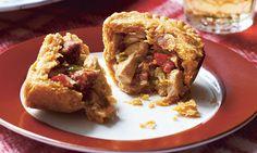 Chicken, chorizo and pepper pies