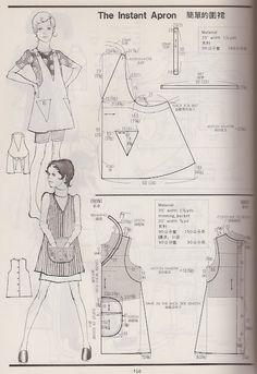 vintage aprons - Kamakura-Shobo Publishing Co. Pattern Drafting books Vol. 3 published in Vintage Apron Pattern, Aprons Vintage, Vintage Sewing Patterns, Clothing Patterns, Apron Patterns, Sewing Aprons, Sewing Clothes, Diy Clothes, Sewing Hacks