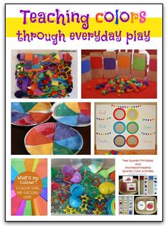 Teaching colors to kids through everyday play - 7 fun ideas for games, sensory bins, songs, and more that parents and teachers can use to help kids learn their Kids Learning Activities, Color Activities, Fun Learning, Preschool Activities, Teaching Kids, Educational Activities, Preschool Colors, Teaching Colors, Toddler School
