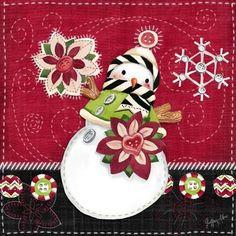 Button Up Snowmen-Poinsettia By Geoff Allen