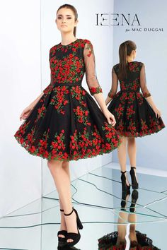 A short cocktail dress with floral embroidery f3a05f003