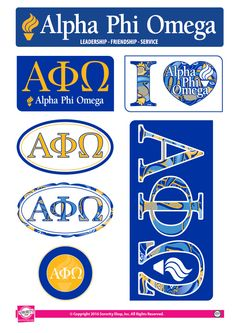 """Get your """"Greek On"""" with these high quality, lifestyle stickers! Each sheet contains 7 stickers ranging in size from a circle to a generous rectangle. Printed on sturdy vinyl, they are easi Greek Crafts, Alpha Phi Omega, Greek Life, Fraternity, Sorority, Sticker Design, Custom Stickers, Leadership, Friendship"""