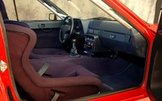 Porsche 924 GTS interior with our red 'LOLLIPOP' seat. Classic Car Seats by GTS Classics.