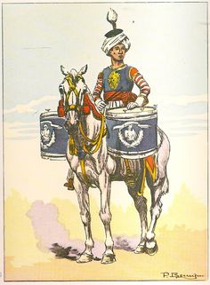 NAP- France: Timbalier du Cuirassiers en grande tenue - by Pierre Benigni. War Drums, Napoleonic Wars, Military History, Camel, French, Drummers, Instruments, Weapons Guns, War Horses