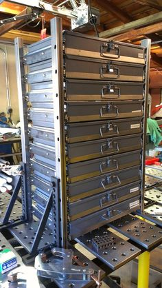 more storage boxes. drawer for Durham boxes - WeldingWeb™ - Welding forum for pros and enthusiasts Garage Tool Storage, Workshop Storage, Diy Garage, Garage Workshop, Storage Boxes, Workshop Design, Workshop Ideas, Sheet Metal Brake, Small Parts Storage