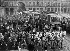 Spain. Tramways at Main Square (Plaza Mayor) , Madrid, 1949