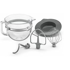 KitchenAid 6 Quart Glass Mixing Bowl with Accessories for Bowl-lift Stand Mixers. Set incorporates 6 quart Glass bowl with handle, F-Series covered level mixer, covered PowerKnead winding mixture snare, 6-wire whip and bowl lid Glass blending dish planned solely for use with the KV25, KP26, KSM652, and KSM758, best offer