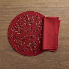 Nordic Felt Placemat and Fete Cherry Napkin