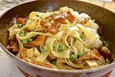 Pasta mit Erbsen und Pilzen Rezept, foodhunter