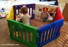 "Try using baby play gates instead of baby equipment (exersaucers, jumpers, Bumbo seats) to ""contain"" your baby while you get work done around the house."