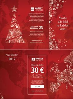 Pour féliciter 2017 & xmass card of Adastra Partnering with a gift for Market Locator user including voucher. 30 Gifts, Charity, Marketing, Cards, Maps, Playing Cards