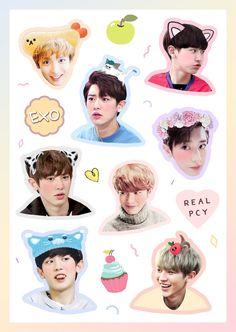Exo Stickers, Tumblr Stickers, Printable Stickers, Cute Stickers, Kpop Exo, Exo Chanyeol, Exo Lockscreen, Sunset Wallpaper, Bts Chibi