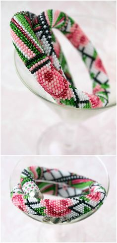 Seed bead necklace Seed bead bracelet Rose flower necklace Bead crochet necklace Rose print Floral print Seed bead jewelry Bead crochet rope