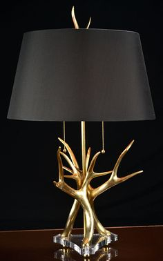 Brass Antler Horn Lamp on Lucite Base with Black Shade One-Way with 60 Watt Max and Type A Bulb Brass, Lamp, Deco, Decor, Antlers Decor, Shades Of Black, Light, Bulb, Home Decor