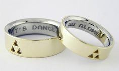 Zelda wedding bands - triforce - It's Dangerous to Go Alone