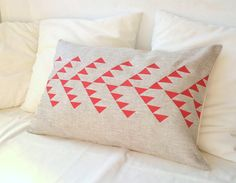 Linen pillow cover with tribal pattern geometric design on Etsy, $47.63