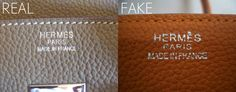 A real Birkin is handmade by an artisan. The stitching is at a perfect angle. The stamp on the authentic Hermès is clean despite the rough surface. The stamp of the #fake Hermès is just messy. #counterfeit #replica