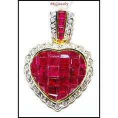 http://rubies.work/0779-emerald-earrings/ Unique Diamond Ruby Heart Pendant 18K Yellow Gold by BKGjewels