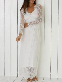 Plunging Neck Long Sleeve See Through Lace Dress (White) Lace Dress With Sleeves, Dress Up, Lace Dresses, Wedding Dresses, Dress Shoes, Formal Dresses, Boho Outfits, Dress Outfits, Country Outfits