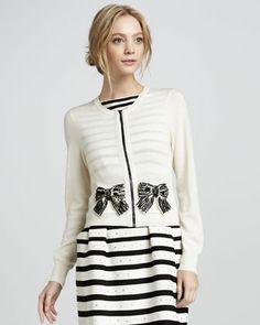 Pearl River Beaded-Bow Cardigan by Nanette Lepore at Bergdorf Goodman. White Fashion, Love Fashion, Womens Fashion, Fashion Trends, Diy Fashion, Pretty Outfits, Stylish Outfits, Altering Clothes, Dress With Bow
