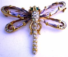 JAWDROPPING HEAVY GLASS RHINESTONE VINTAGE DRAGONFLY BROOCH EXQUISITE