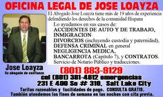 Ayuda Legal? La Oficina Legal de Jose A. Loayza te puede ayudar, ABOGADO DE INMIGRACION EN UTAH