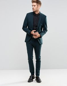 Image 1 of Selected Homme Bottle Green Suit in Slim Fit with Stretch Asos