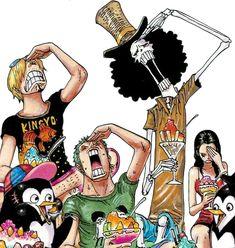 Sanji, Zoro, Brook & Robin from chapter 835 color spread. One Piece Nami, One Piece Crew, One Piece Series, Watch One Piece, Manga Anime One Piece, One Piece Fanart, Mugiwara No Luffy, Nami Swan, One Piece Funny