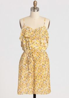 """Fair Lady Pleated Dress 39.99 at shopruche.com. Delicate sunburst pleats impart graceful movement to this yellow floral chiffon dress. Perfected with a tiered neckline, adjustable straps, and an elasticized waist for a flattering fit. Fully lined.100% Polyester, Imported, 37"""" length from top of shoulders, 34"""" bust, All measurements taken from a size small"""