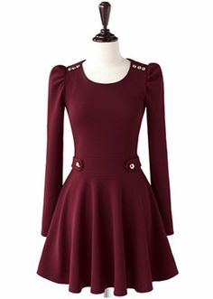 Simple Round Neck Long Sleeve Button Embellished Women's Dress