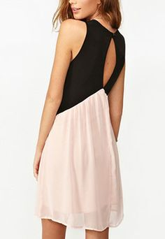 Contrast Color Low-cut V Neck Cutout Sleeveless