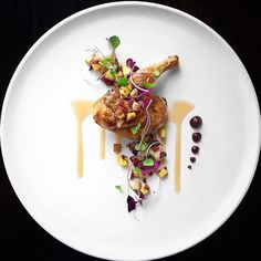 Recipe by EthanKerr | Cornish game hen (poussin) , Apple walnut gastrique, Fig purée, Potato and micro-greens | Cookniche, linking the culinary world