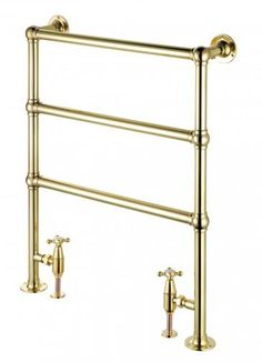 Opus Bathrooms - Enville Towel Warmer - Enville 3 Rail Towel Warmer In Unlacquered Brass Traditional Decor, Traditional Kitchen, Traditional House, Large Shower, Glass Shower, Traditional Towel Radiator, Towel Warmer, Modern Bathroom, Brass Bathroom