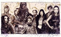 (La familia Skywalker y Solo durante la Guerra Yuuzhan Vong)    Jaina Solo, C3-PO, Jancen Solo, R2-D2, Chewbacca,Anakin Solo, Han Solo, Leia Organa Solo, Luke Skywalker, Mara Jade Skywalker