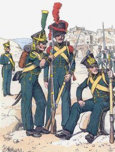 Ufficiale, Volteggiatore, granatiere e fuciliere di un rgt. di fanteria della linea Nassau