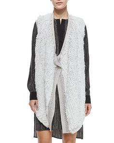 Vince Sleeveless Fur Vest w/Sweater Back NMF16_TAGQH