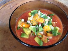 A delicious and healthy way to eat your veggies, gazpacho! Its a cold summer dream.
