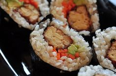 Deep-Fried Tempeh Sushi with Carrot and Avocado