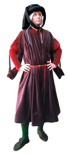 Dress rich bourgeois, Medieval - Medieval Clothing - Medieval Costume (Man) - Costume style Italian, French or Flemish (1440-1500 approx).