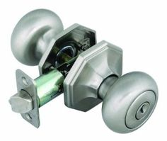 """Design House 702803 Barcelona Entry Door Knob with 2-Way Latch, Satin Nickel Finish by Design House. $27.77. From the Manufacturer                The Barcelona Series features a classic octagonal rosette with robust knob for an updated design. Fits doors 1-3/8"""" to 1-3/4"""" thick.                                    Product Description                The Barcelona Series features a classic octagonal rosette with robust knob for an updated design. Fits doors 1-3/8"""" to 1-3/4"""" thick."""