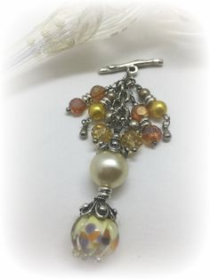 Handmade Lampwork Glass, Pearl, Faceted Glass Interchangeable Beaded Pendant. Attach Pendant to available Stainless Steel & Leather Chains. Visit Entire Collection Today!