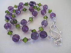 Amethyst and Swarovski Crystal Necklace by mdeja on Etsy, $140.00