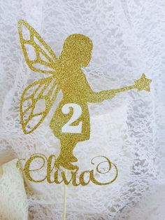 Fairy Cake Topper - Fairy Party Decorations - Custom Made - Your Name, Color and…