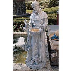 St. Francis Blessing Garden Statue Bird Bath Feeder Pet Dog Memorial Sanctuary