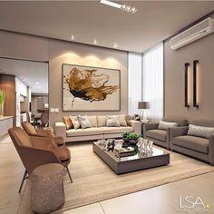 Sala de estar super elegante em tons neutros. Super aconchegante né? { Projeto: LSA Arquitetura}{ Indico: @tendenciaarquitetura}