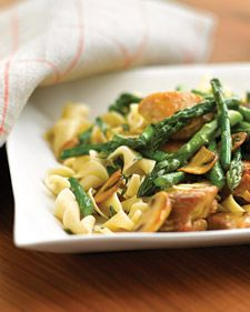 Made this tonight. Sautéed chicken with asparagus and mushrooms from Martha Stewart.  I just added a couple of cloves of garlic and a shallot before sautéing the chicken and I used white wine to deglaze instead of water. Served with whole wheat pasta. YUM!