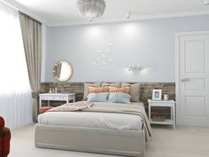Simple, modern bedroom. By: Ekaterina Donde Design