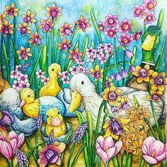 Cute duck family in Menuet de Bonheur #menuetdebonheur #kanokoegusa #rhapsodyintheforest #大人の塗り絵 #egusakanoko #幸せのメヌエット #inktense